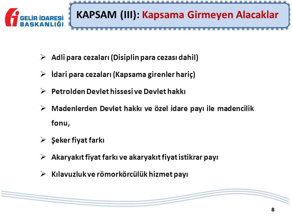 8 KAPSAM (III): Kapsama Girmeyen Alacaklar  Adli para cezaları (Disiplin para cezası dahil)  İdari para cezaları (Kapsama girenler hariç)  Petrolde