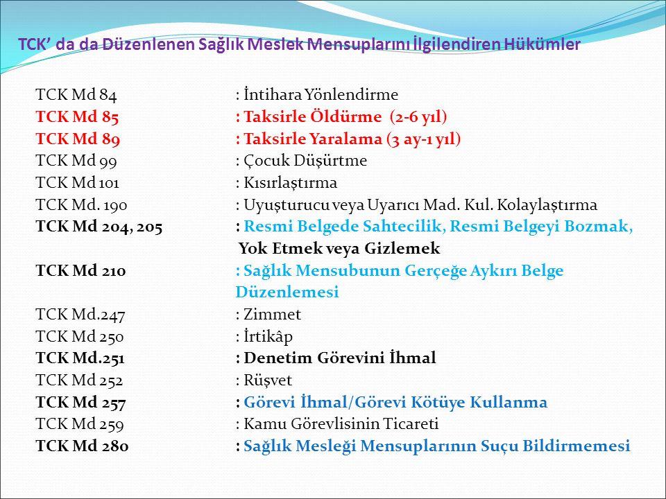 TCK' da da Düzenlenen Sağlık Meslek Mensuplarını İlgilendiren Hükümler TCK Md 84: İntihara Yönlendirme TCK Md 85: Taksirle Öldürme (2-6 yıl) TCK Md 89: Taksirle Yaralama (3 ay-1 yıl) TCK Md 99: Çocuk Düşürtme TCK Md 101: Kısırlaştırma TCK Md.