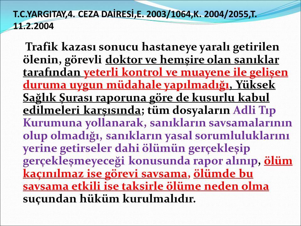 T.C.YARGITAY,4.CEZA DAİRESİ,E. 2003/1064,K. 2004/2055,T.