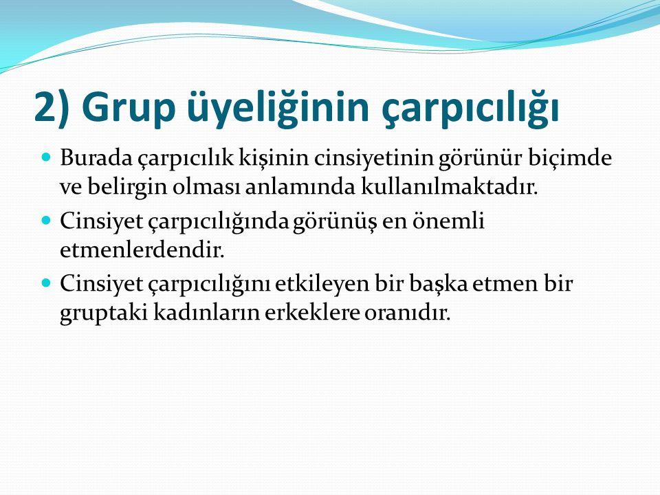 2) Grup üyeliğinin çarpıcılığı Burada çarpıcılık kişinin cinsiyetinin görünür biçimde ve belirgin olması anlamında kullanılmaktadır.