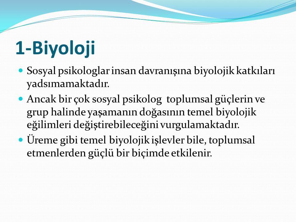 1-Biyoloji Sosyal psikologlar insan davranışına biyolojik katkıları yadsımamaktadır. Ancak bir çok sosyal psikolog toplumsal güçlerin ve grup halinde