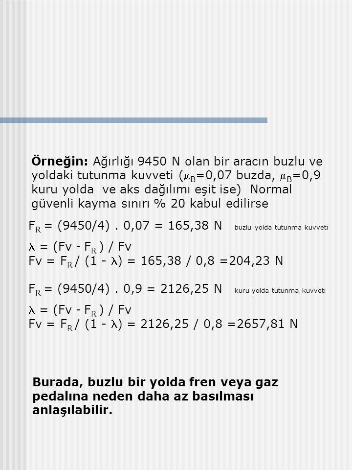 Örneğin: Ağırlığı 9450 N olan bir aracın buzlu ve yoldaki tutunma kuvveti ( B =0,07 buzda,  B =0,9 kuru yolda ve aks dağılımı eşit ise) Normal güvenli kayma sınırı % 20 kabul edilirse F R = (9450/4).