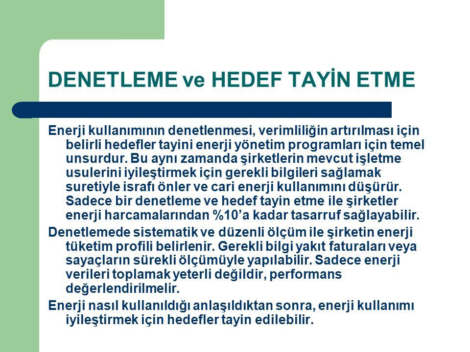 DENETLEME ve HEDEF TAYİN ETME Enerji kullanımının denetlenmesi, verimliliğin artırılması için belirli hedefler tayini enerji yönetim programları için temel unsurdur.
