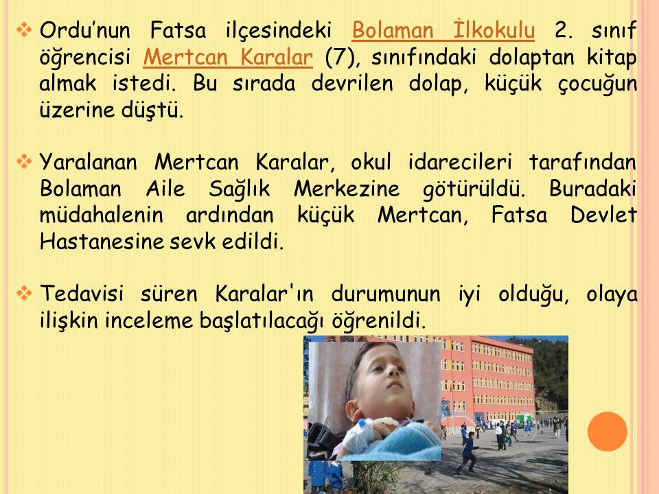  28 Şubat'ta da Kahramanmaraş'ın Elbistan ilçesine bağlı Karahasanuşağı Köyü İlköğretim Okulu'nda laboratuvarda buldukları cıva ile oynayan 14'ü öğrenci 16 kişi vücutlarının kızarması üzerine hastaneye kaldırıldı.