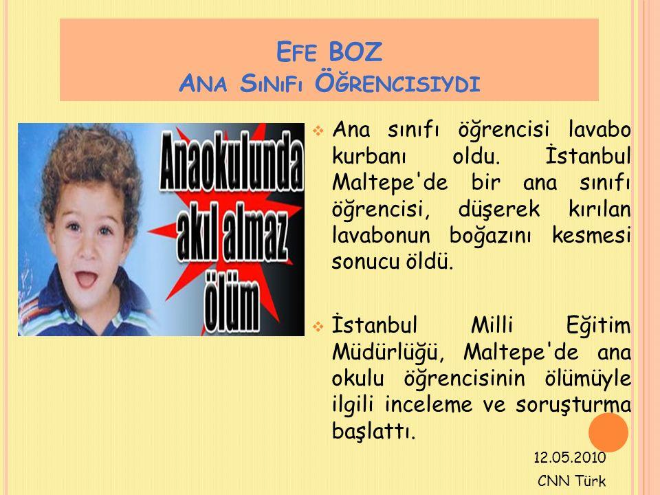 E FE BOZ A NA S ıNıFı Ö ĞRENCISIYDI  Ana sınıfı öğrencisi lavabo kurbanı oldu. İstanbul Maltepe'de bir ana sınıfı öğrencisi, düşerek kırılan lavabonu