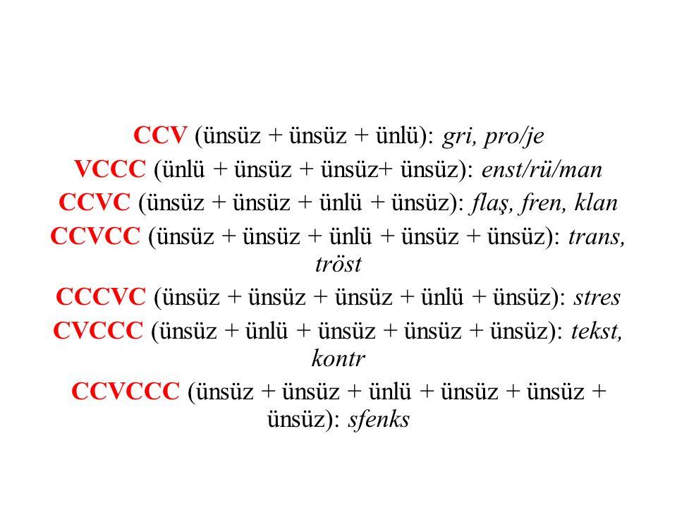 CCV (ünsüz + ünsüz + ünlü): gri, pro/je VCCC (ünlü + ünsüz + ünsüz+ ünsüz): enst/rü/man CCVC (ünsüz + ünsüz + ünlü + ünsüz): flaş, fren, klan CCVCC (ünsüz + ünsüz + ünlü + ünsüz + ünsüz): trans, tröst CCCVC (ünsüz + ünsüz + ünsüz + ünlü + ünsüz): stres CVCCC (ünsüz + ünlü + ünsüz + ünsüz + ünsüz): tekst, kontr CCVCCC (ünsüz + ünsüz + ünlü + ünsüz + ünsüz + ünsüz): sfenks