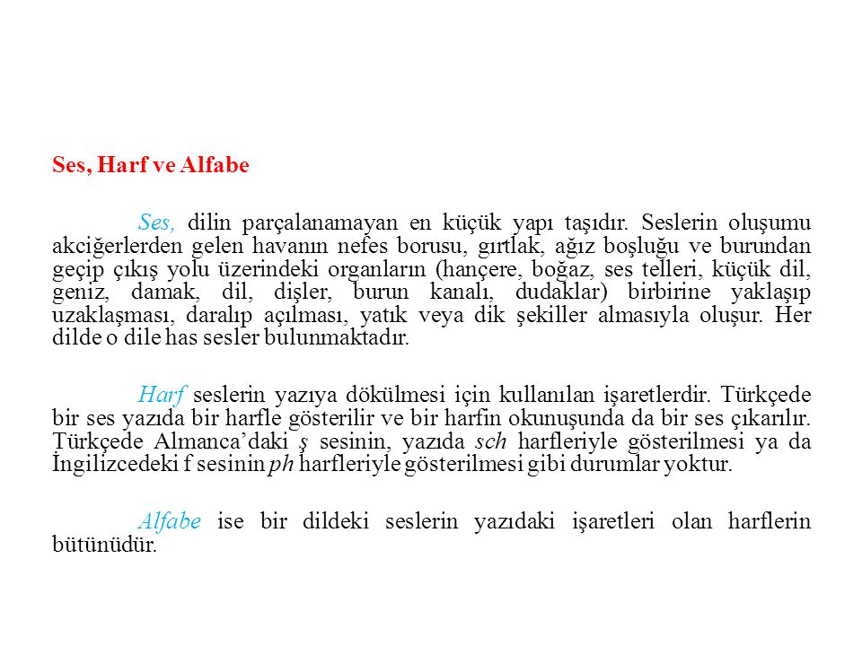 Ses, Harf ve Alfabe Ses, dilin parçalanamayan en küçük yapı taşıdır.