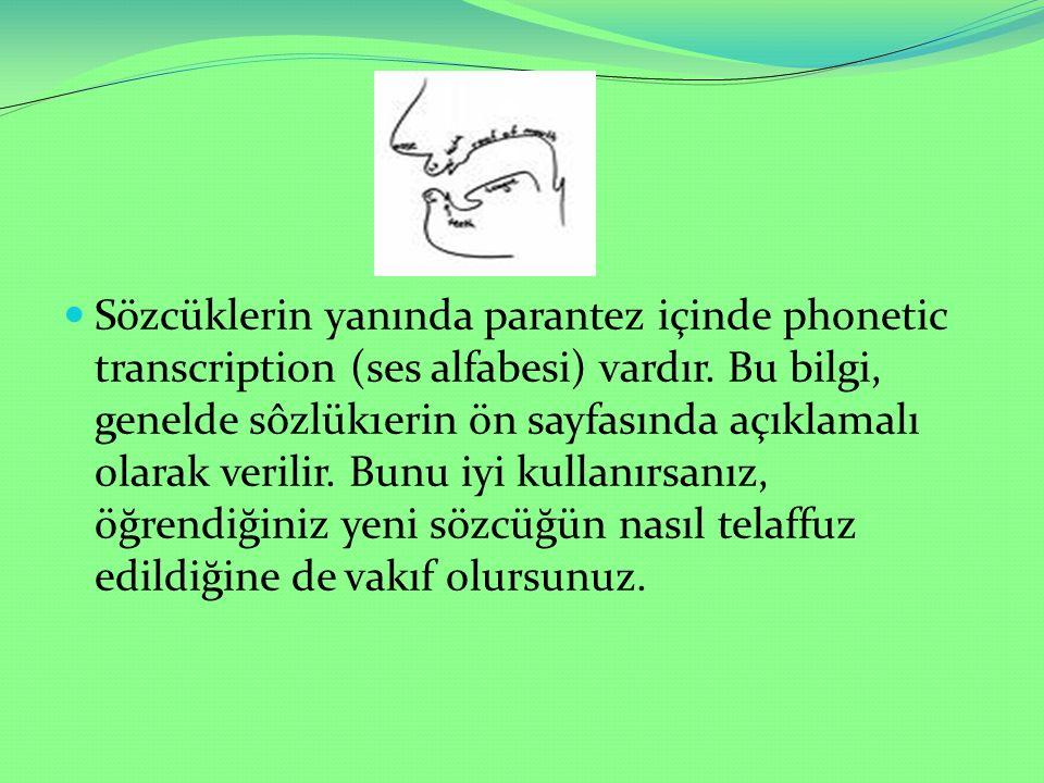Sözcüklerin yanında parantez içinde phonetic transcription (ses alfabesi) vardır.