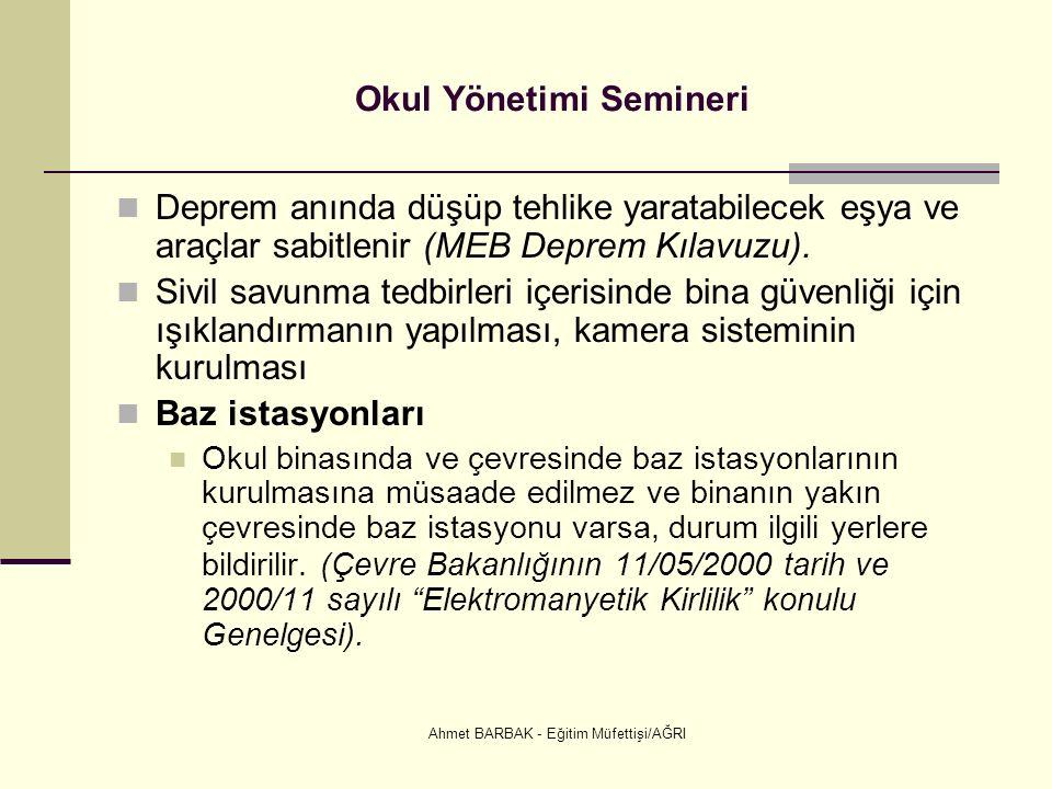 Ahmet BARBAK - Eğitim Müfettişi/AĞRI Okul Yönetimi Semineri Deprem anında düşüp tehlike yaratabilecek eşya ve araçlar sabitlenir (MEB Deprem Kılavuzu).