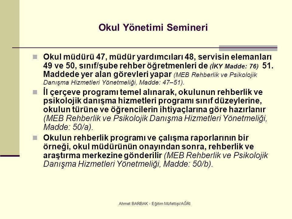 Ahmet BARBAK - Eğitim Müfettişi/AĞRI Okul Yönetimi Semineri Okul müdürü 47, müdür yardımcıları 48, servisin elemanları 49 ve 50, sınıf/şube rehber öğretmenleri de (İKY Madde: 76) 51.