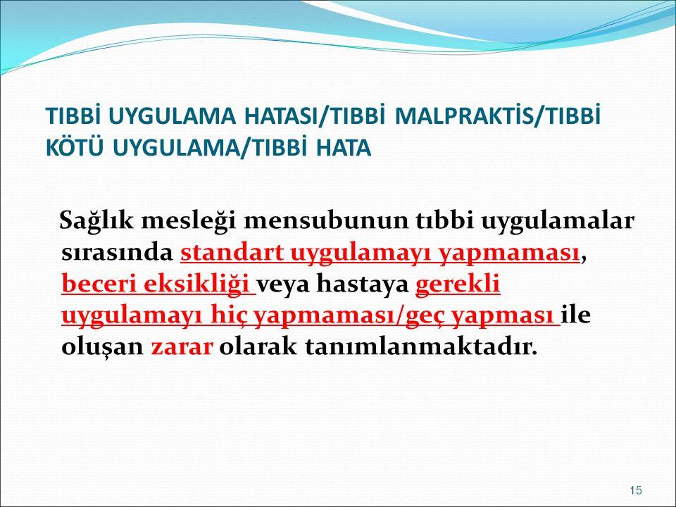 TIBBİ UYGULAMA HATASI/TIBBİ MALPRAKTİS/TIBBİ KÖTÜ UYGULAMA/TIBBİ HATA Sağlık mesleği mensubunun tıbbi uygulamalar sırasında standart uygulamayı yapmaması, beceri eksikliği veya hastaya gerekli uygulamayı hiç yapmaması/geç yapması ile oluşan zarar olarak tanımlanmaktadır.