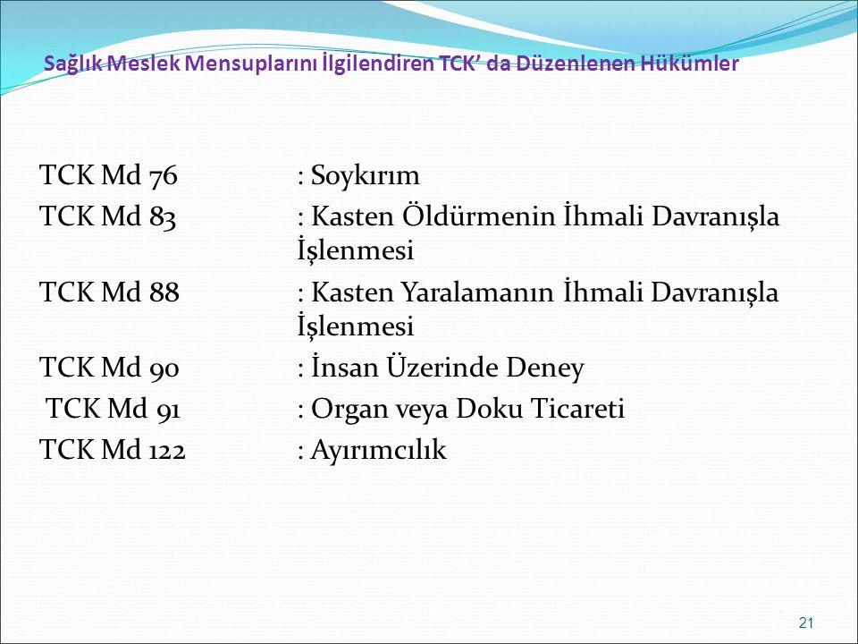 Sağlık Meslek Mensuplarını İlgilendiren TCK' da Düzenlenen Hükümler TCK Md 76: Soykırım TCK Md 83: Kasten Öldürmenin İhmali Davranışla İşlenmesi TCK Md 88: Kasten Yaralamanın İhmali Davranışla İşlenmesi TCK Md 90: İnsan Üzerinde Deney TCK Md 91: Organ veya Doku Ticareti TCK Md 122: Ayırımcılık 21