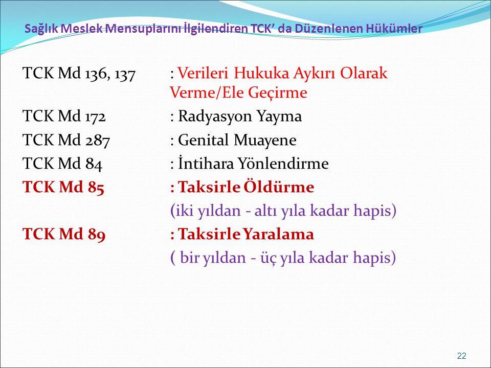 Sağlık Meslek Mensuplarını İlgilendiren TCK' da Düzenlenen Hükümler TCK Md 136, 137: Verileri Hukuka Aykırı Olarak Verme/Ele Geçirme TCK Md 172: Radyasyon Yayma TCK Md 287: Genital Muayene TCK Md 84: İntihara Yönlendirme TCK Md 85: Taksirle Öldürme (iki yıldan - altı yıla kadar hapis) TCK Md 89: Taksirle Yaralama ( bir yıldan - üç yıla kadar hapis) 22