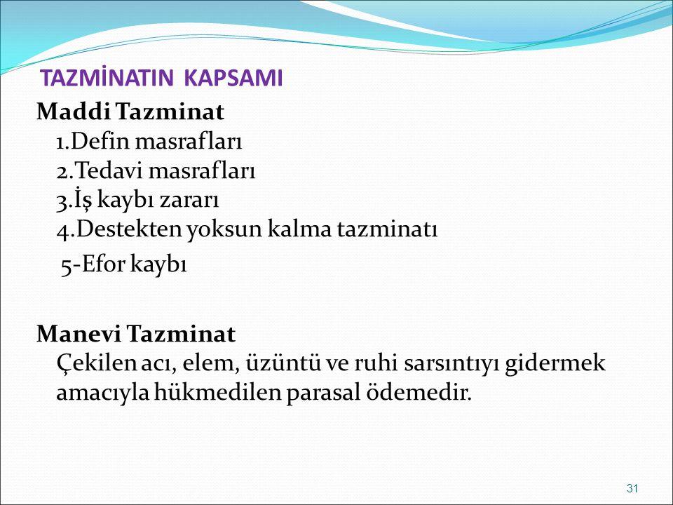 TAZMİNATIN KAPSAMI Maddi Tazminat 1.Defin masrafları 2.Tedavi masrafları 3.İş kaybı zararı 4.Destekten yoksun kalma tazminatı 5-Efor kaybı Manevi Tazm