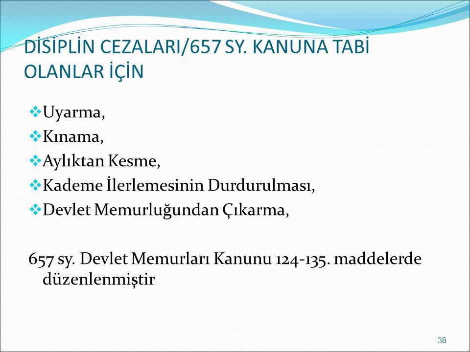 DİSİPLİN CEZALARI/657 SY. KANUNA TABİ OLANLAR İÇİN  Uyarma,  Kınama,  Aylıktan Kesme,  Kademe İlerlemesinin Durdurulması,  Devlet Memurluğundan Ç