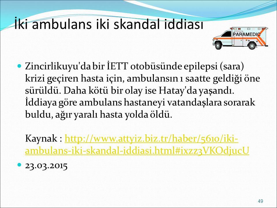 İki ambulans iki skandal iddiası Zincirlikuyu'da bir İETT otobüsünde epilepsi (sara) krizi geçiren hasta için, ambulansın 1 saatte geldiği öne sürüldü
