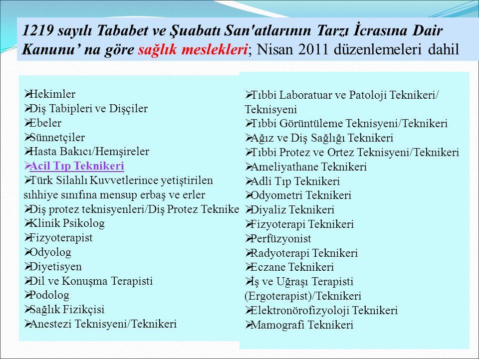 . 1219 sayılı Tababet ve Şuabatı San'atlarının Tarzı İcrasına Dair Kanunu' na göre sağlık meslekleri; Nisan 2011 düzenlemeleri dahil  Hekimler  Diş