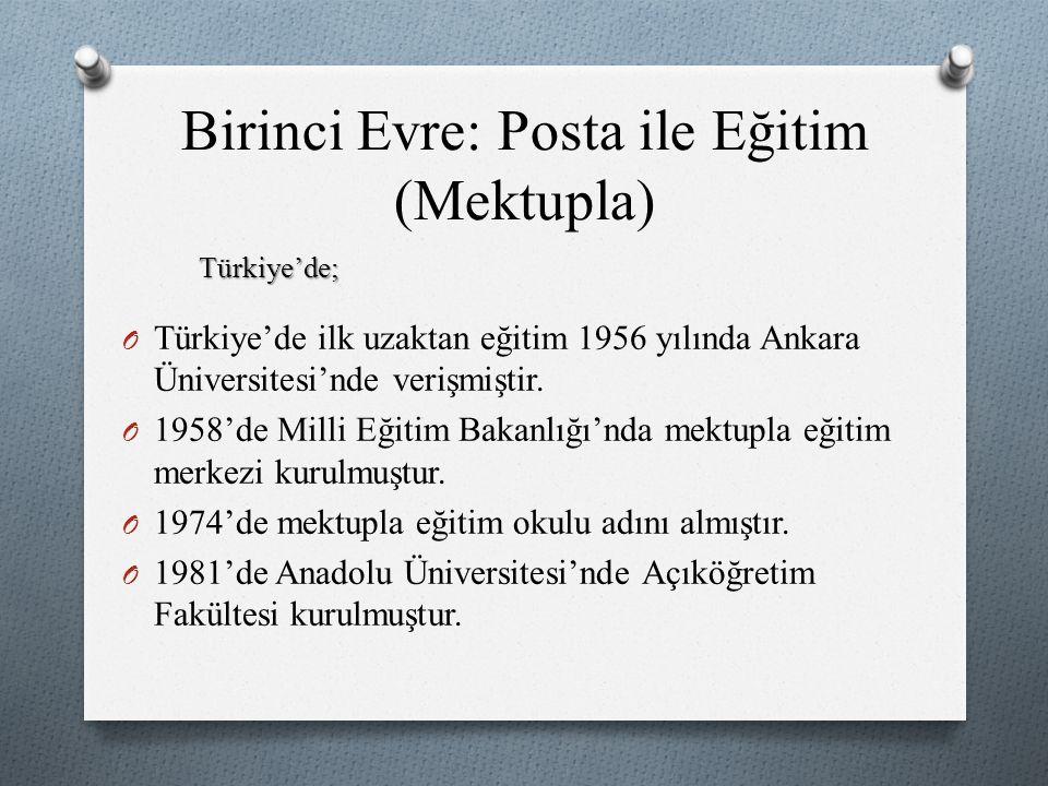 O Türkiye'de ilk uzaktan eğitim 1956 yılında Ankara Üniversitesi'nde verişmiştir. O 1958'de Milli Eğitim Bakanlığı'nda mektupla eğitim merkezi kurulmu