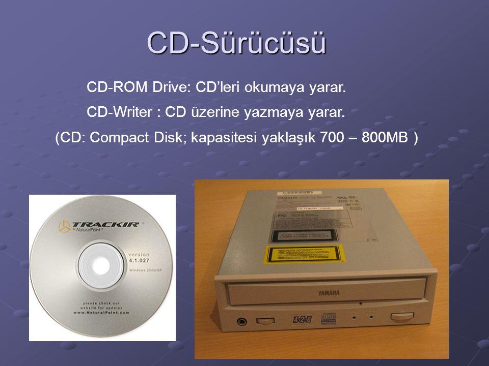 CD-Sürücüsü CD-ROM Drive: CD'leri okumaya yarar. CD-Writer : CD üzerine yazmaya yarar.