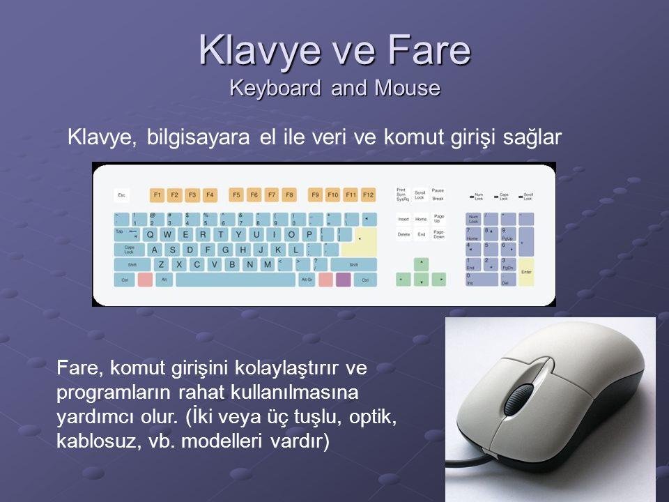 Klavye ve Fare Keyboard and Mouse Klavye, bilgisayara el ile veri ve komut girişi sağlar Fare, komut girişini kolaylaştırır ve programların rahat kullanılmasına yardımcı olur.