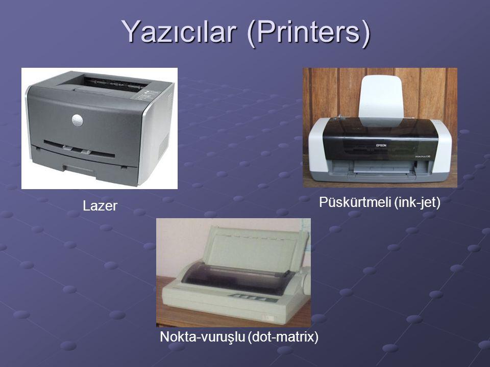 Yazıcılar (Printers) Lazer Püskürtmeli (ink-jet) Nokta-vuruşlu (dot-matrix)