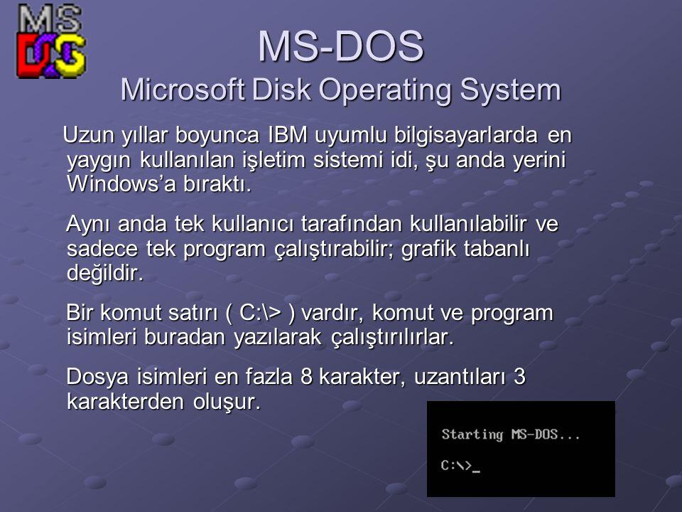 MS-DOS Microsoft Disk Operating System Uzun yıllar boyunca IBM uyumlu bilgisayarlarda en yaygın kullanılan işletim sistemi idi, şu anda yerini Windows'a bıraktı.