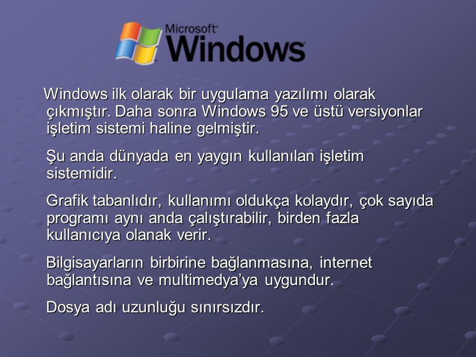 Windows ilk olarak bir uygulama yazılımı olarak çıkmıştır.