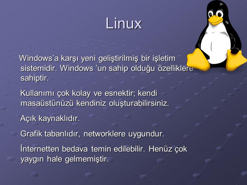 Linux Windows'a karşı yeni geliştirilmiş bir işletim sistemidir.