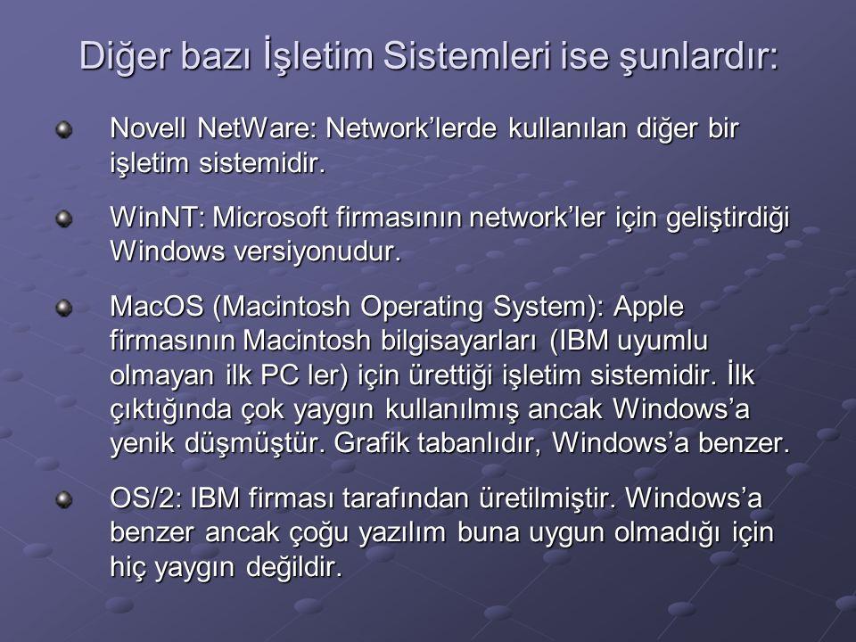 Diğer bazı İşletim Sistemleri ise şunlardır: Novell NetWare: Network'lerde kullanılan diğer bir işletim sistemidir.