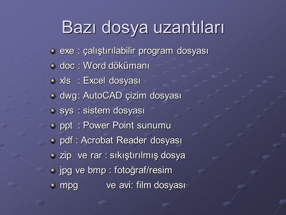 Bazı dosya uzantıları exe: çalıştırılabilir program dosyası doc: Word dökümanı xls: Excel dosyası dwg: AutoCAD çizim dosyası sys: sistem dosyası ppt: Power Point sunumu pdf : Acrobat Reader dosyası zipve rar : sıkıştırılmış dosya jpg ve bmp : fotoğraf/resim mpgve avi: film dosyası