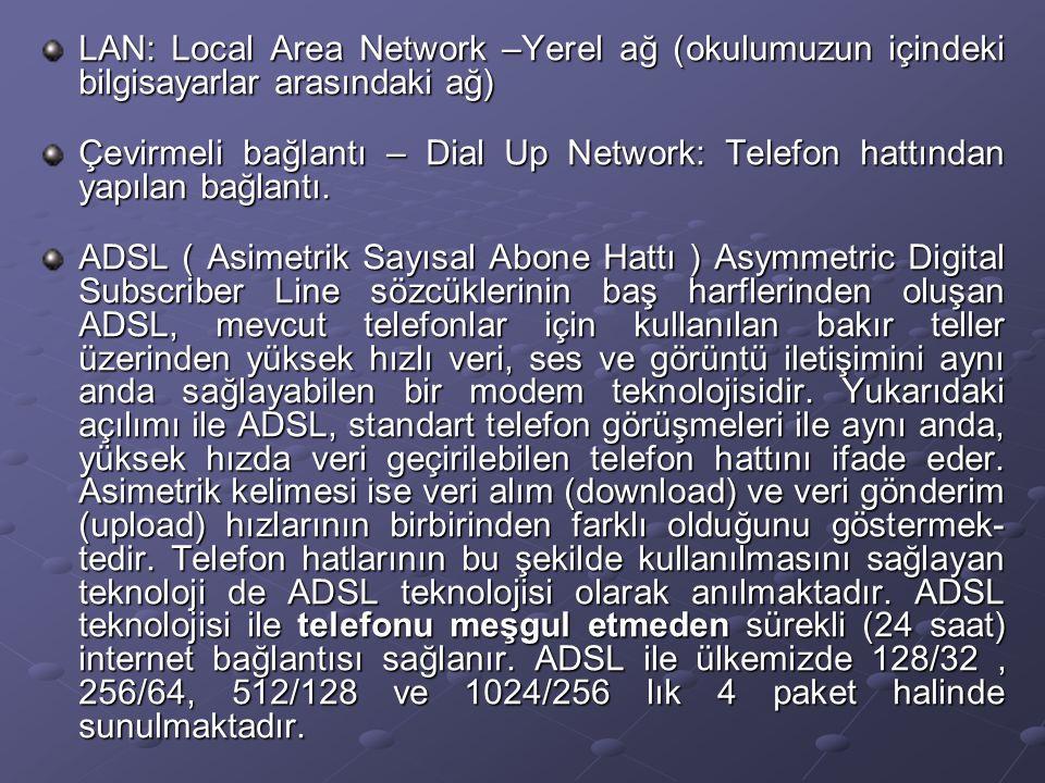LAN: Local Area Network –Yerel ağ (okulumuzun içindeki bilgisayarlar arasındaki ağ) Çevirmeli bağlantı – Dial Up Network: Telefon hattından yapılan bağlantı.