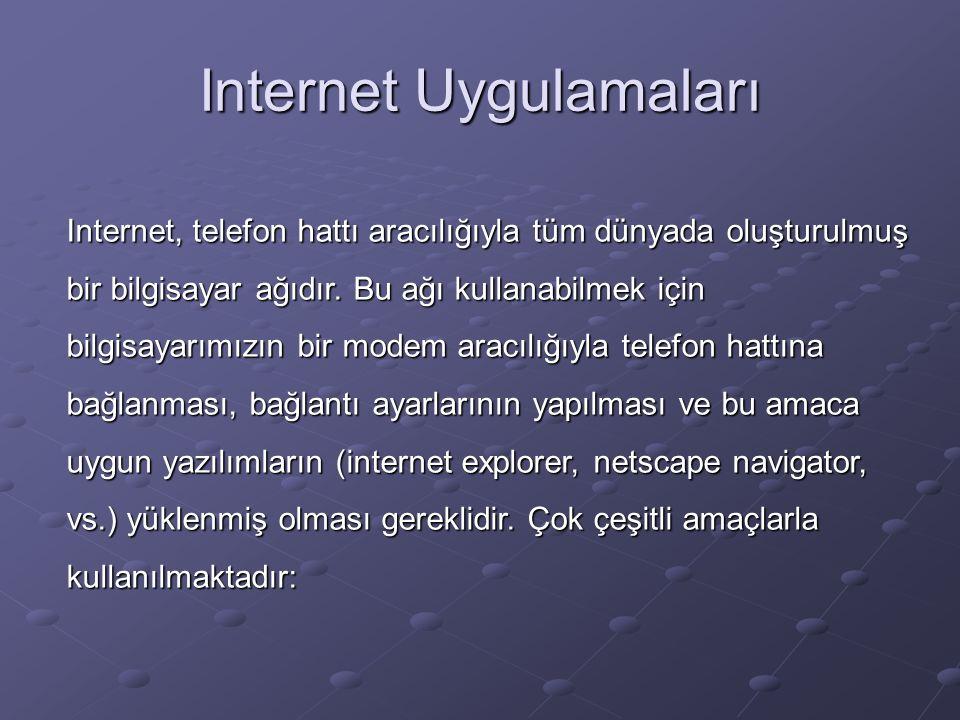 Internet Uygulamaları Internet, telefon hattı aracılığıyla tüm dünyada oluşturulmuş bir bilgisayar ağıdır.
