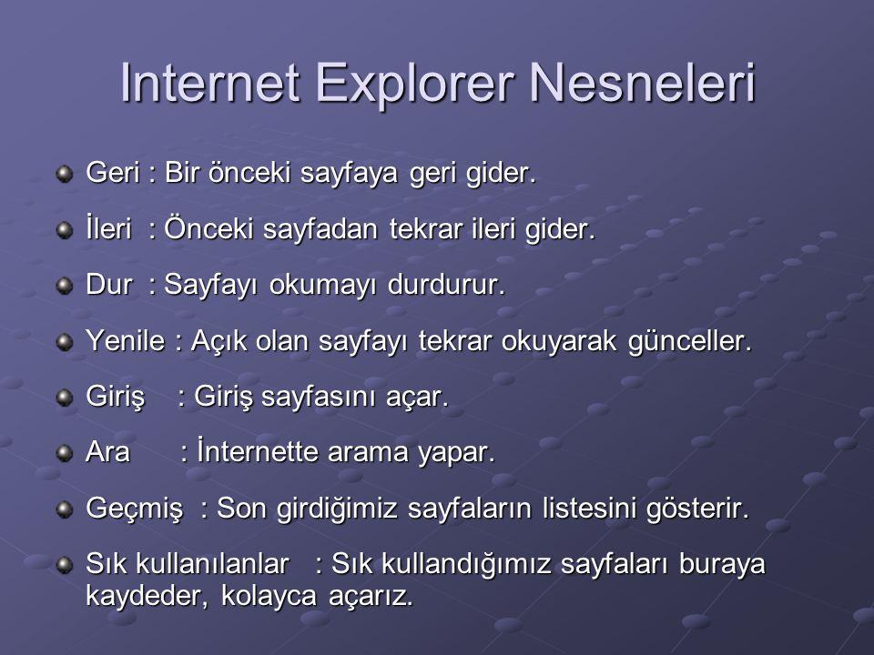 Internet Explorer Nesneleri Geri : Bir önceki sayfaya geri gider.