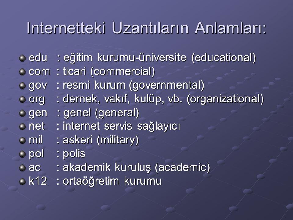 Internetteki Uzantıların Anlamları: edu : eğitim kurumu-üniversite (educational) com : ticari (commercial) gov : resmi kurum (governmental) org : dernek, vakıf, kulüp, vb.