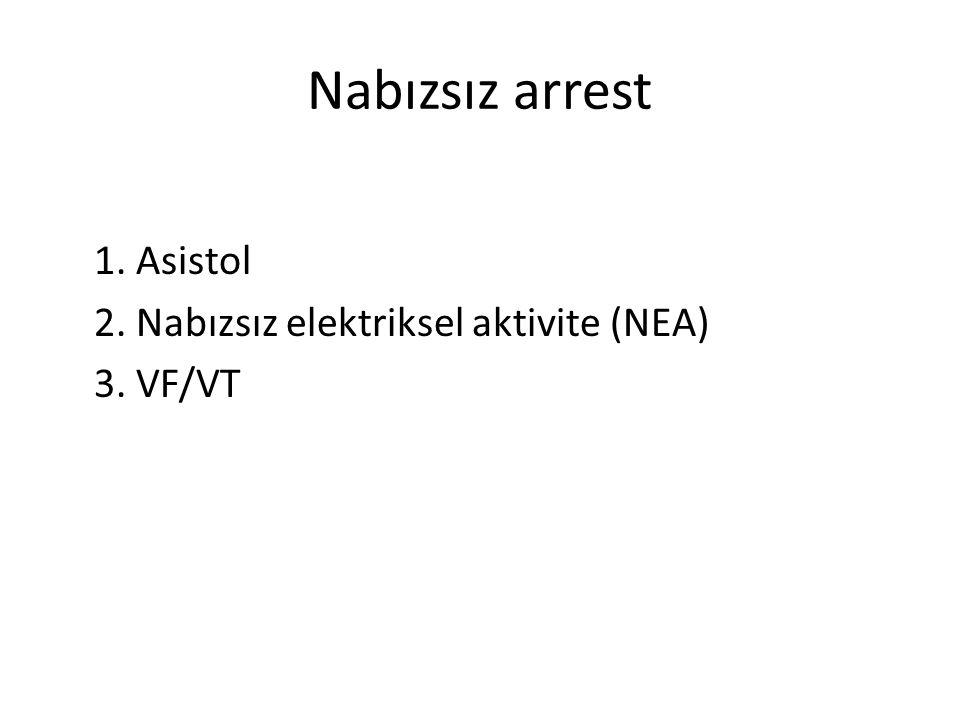 Nabızsız arrest 1. Asistol 2. Nabızsız elektriksel aktivite (NEA) 3. VF/VT