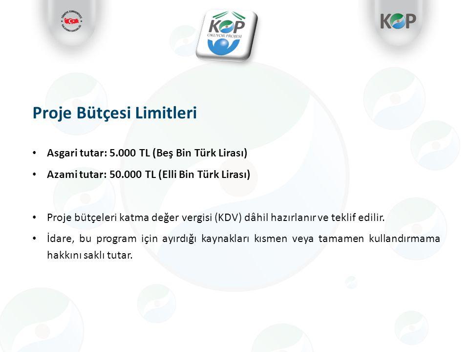 Proje Bütçesi Limitleri Asgari tutar: 5.000 TL (Beş Bin Türk Lirası) Azami tutar: 50.000 TL (Elli Bin Türk Lirası) Proje bütçeleri katma değer vergisi (KDV) dâhil hazırlanır ve teklif edilir.