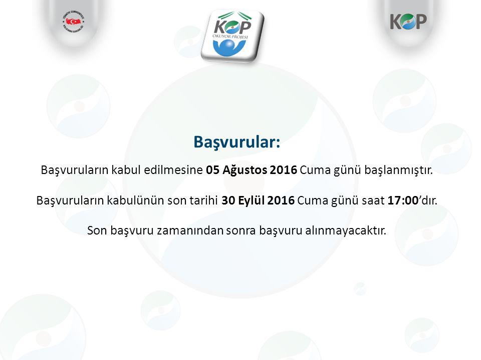 Başvurular: Başvuruların kabul edilmesine 05 Ağustos 2016 Cuma günü başlanmıştır.