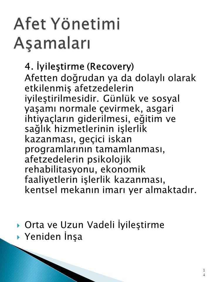 4. İyileştirme (Recovery) Afetten doğrudan ya da dolaylı olarak etkilenmiş afetzedelerin iyileştirilmesidir. Günlük ve sosyal yaşamı normale çevirmek,