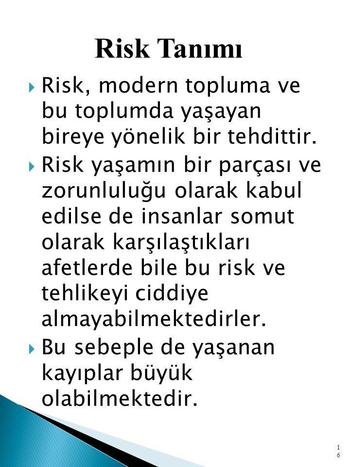  Risk, modern topluma ve bu toplumda yaşayan bireye yönelik bir tehdittir.  Risk yaşamın bir parçası ve zorunluluğu olarak kabul edilse de insanlar