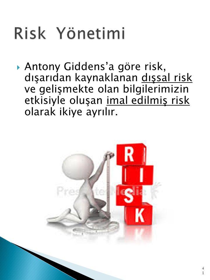  Antony Giddens'a göre risk, dışarıdan kaynaklanan dışsal risk ve gelişmekte olan bilgilerimizin etkisiyle oluşan imal edilmiş risk olarak ikiye ayrılır.