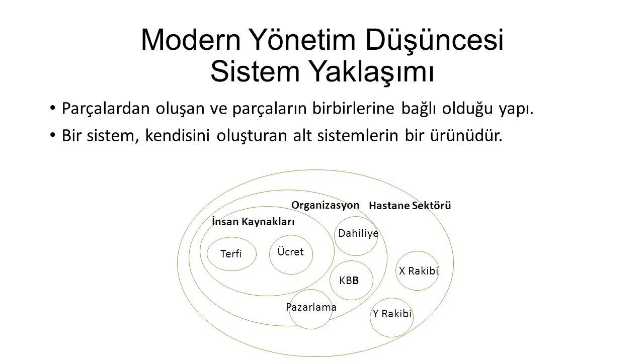 Modern Yönetim Düşüncesi Sistem Yaklaşımı Parçalardan oluşan ve parçaların birbirlerine bağlı olduğu yapı. Bir sistem, kendisini oluşturan alt sisteml