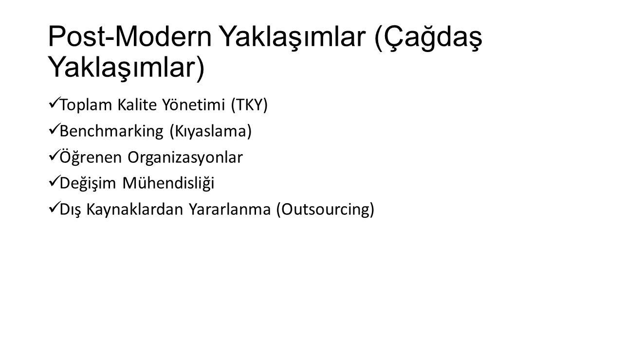Toplam Kalite Yönetimi (TKY) Benchmarking (Kıyaslama) Öğrenen Organizasyonlar Değişim Mühendisliği Dış Kaynaklardan Yararlanma (Outsourcing) Post-Mode