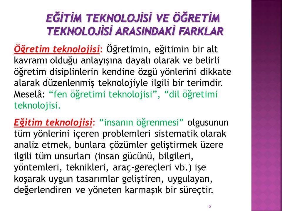 Öğretim Teknolojisi: İletişim devriminin yarattığı, öğretmen, kitap ve yazı tahtasının yanında öğretimsel amaçlar için kullanılabilecek kitle iletişim araçlarıdır...