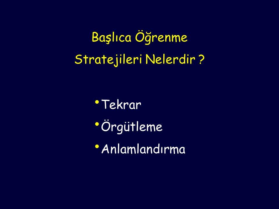 Başlıca Öğrenme Stratejileri Nelerdir ? Tekrar Örgütleme Anlamlandırma