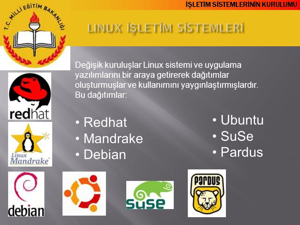 İŞLETİM SİSTEMLERİNİN KURULUMU Değişik kuruluşlar Linux sistemi ve uygulama yazılımlarını bir araya getirerek dağıtımlar oluşturmuşlar ve kullanımını