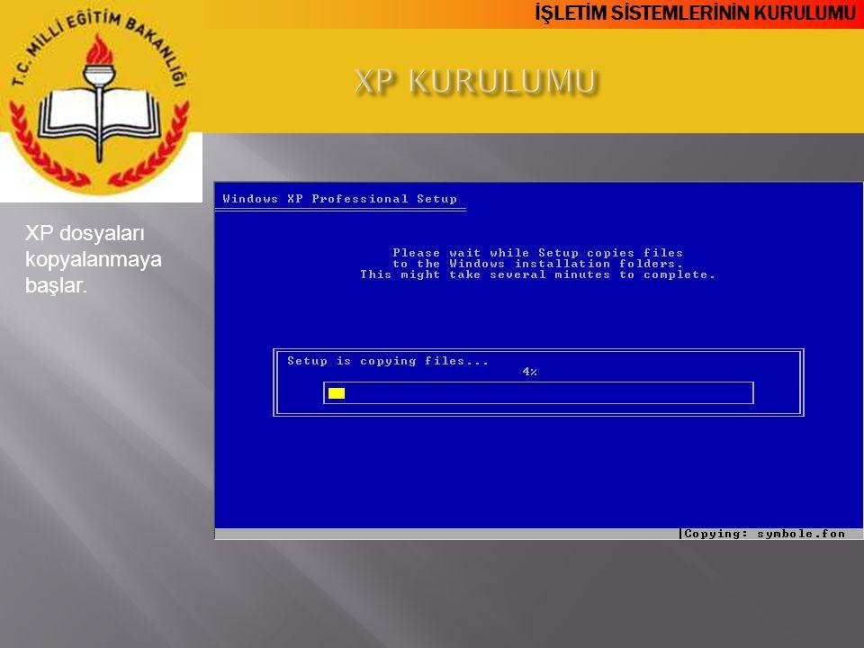 İŞLETİM SİSTEMLERİNİN KURULUMU XP dosyaları kopyalanmaya başlar.