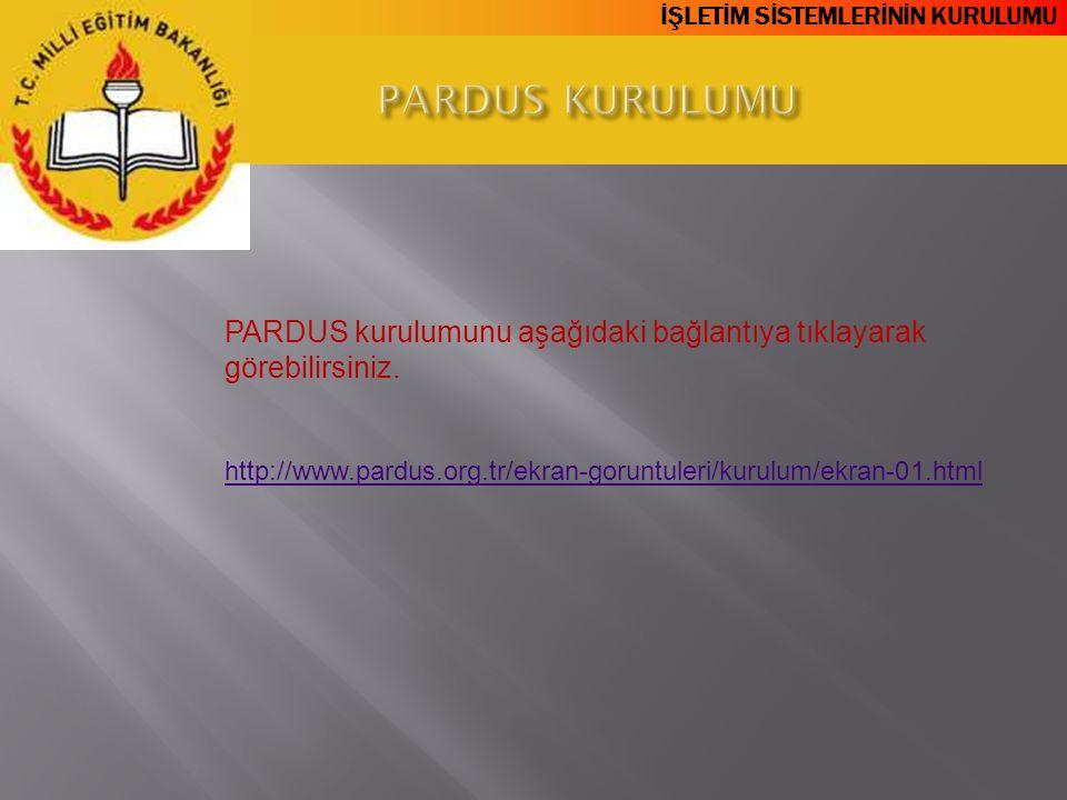 İŞLETİM SİSTEMLERİNİN KURULUMU PARDUS kurulumunu aşağıdaki bağlantıya tıklayarak görebilirsiniz. http://www.pardus.org.tr/ekran-goruntuleri/kurulum/ek