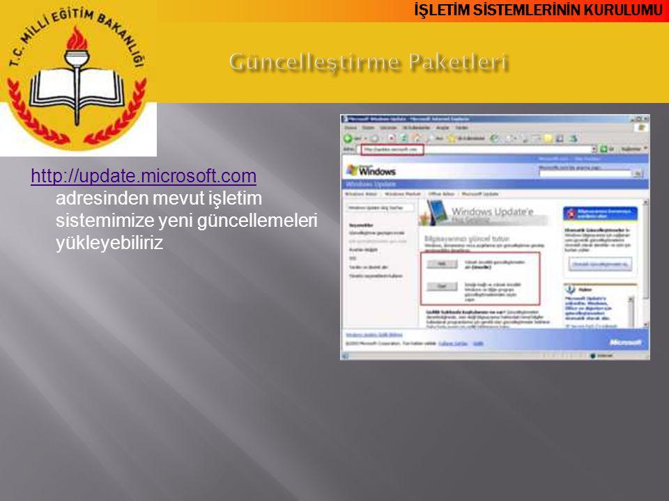 İŞLETİM SİSTEMLERİNİN KURULUMU http://update.microsoft.com http://update.microsoft.com adresinden mevut işletim sistemimize yeni güncellemeleri yükley