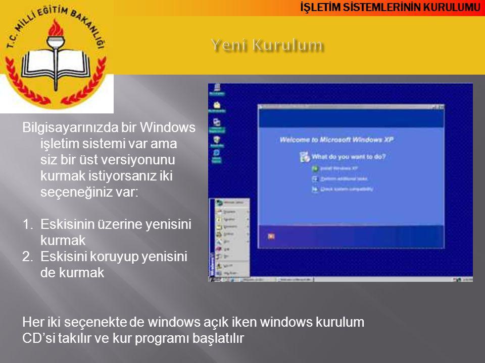 İŞLETİM SİSTEMLERİNİN KURULUMU Bilgisayarınızda bir Windows işletim sistemi var ama siz bir üst versiyonunu kurmak istiyorsanız iki seçeneğiniz var: 1