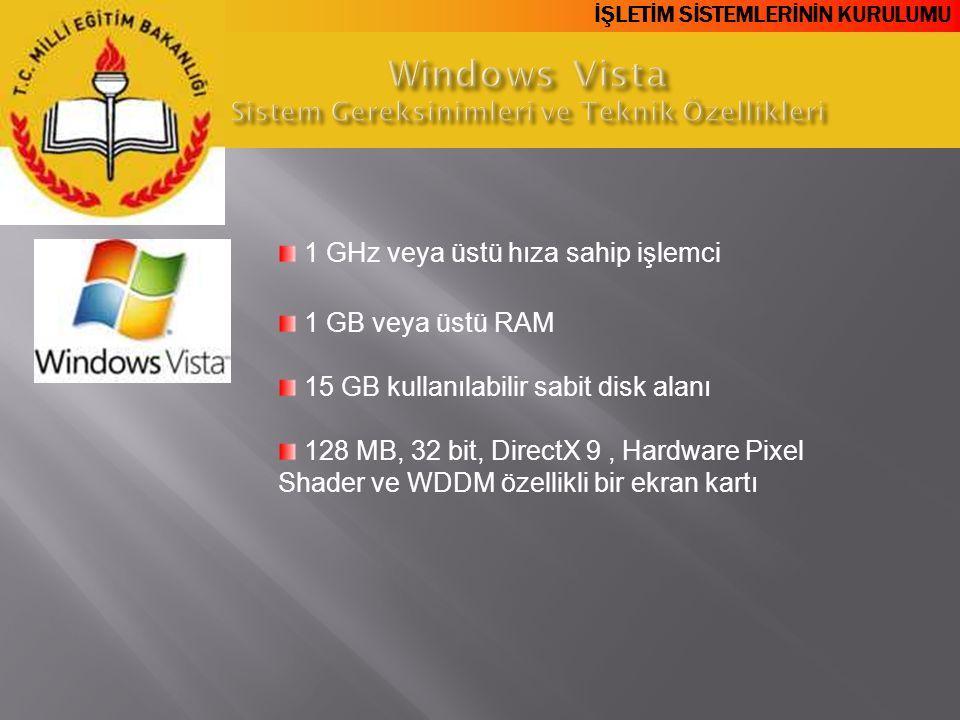 İŞLETİM SİSTEMLERİNİN KURULUMU 1 GHz veya üstü hıza sahip işlemci 1 GB veya üstü RAM 15 GB kullanılabilir sabit disk alanı 128 MB, 32 bit, DirectX 9,